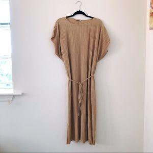 ZARA MAXI ACCORDION TIE DRESS YELLOW/GOLD